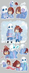 Undertale Doodles : Sans and Frisk by shallowdeepcreation