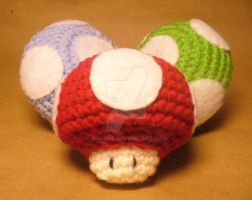 Amigurumi Mushrooms by MalonB