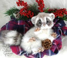 Baby Frost Raccoon ~ Poseable Art Doll by RikerCreatures