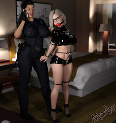 Commission - 'Amber, Cuffed, Gagged, and Hobbled'' by MartyMartyr1