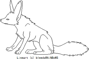 Fennec Fox Lineart by bleedsRAiNBoWS