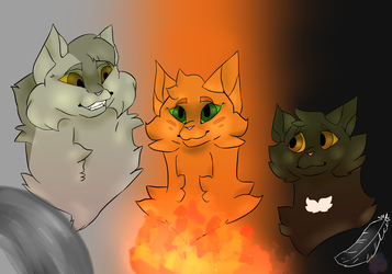 improvement Greypaw Firepaw and Ravenpaw by Fluffydragon24