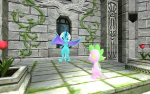 Ember and Spike In the Castle Courtyard Part 1 by Eli-J-Brony