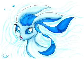 Glaceon, use Icy Wind, promarker by mirry92