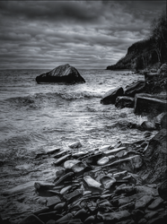 Wind on Rugged Shore by wb-skinner