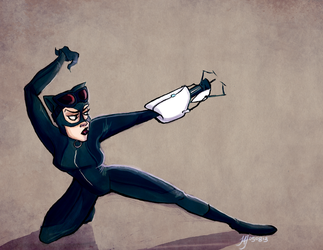Catwoman in Aperture Labs by jaymetwins