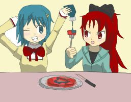 Blue Ketchup, Red Steak by Candor-Shade