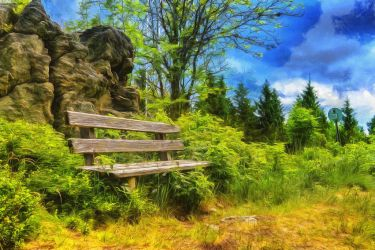 Park Bench by oldhippieart