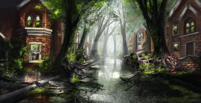 Overgrown City (Commission) by jjpeabody