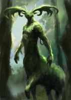 Forest God by conorburkeart
