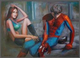 spiderman and mary jane by Xynphix