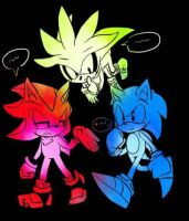 Sonic, Shadow and Silver by BlackHedgehog2