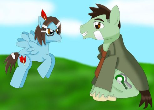 Maggey and Gumshoe as ponys by cartoonfan88