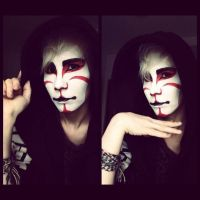 Kabuki inspired make up testing by RaviTheBlueTiger