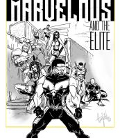 Marvelous and the Elite  black n white commission by ADE-doodles