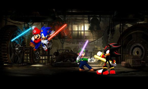 Mario and Sonic battle by maydin83