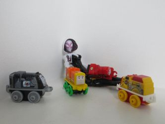 Gwen playing with her trains by preceptorexe