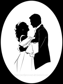 wedding portrait silhouette by JustLynnWeav
