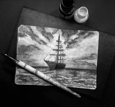 Ship ( inktober 2017 ) Day 25 by papirous