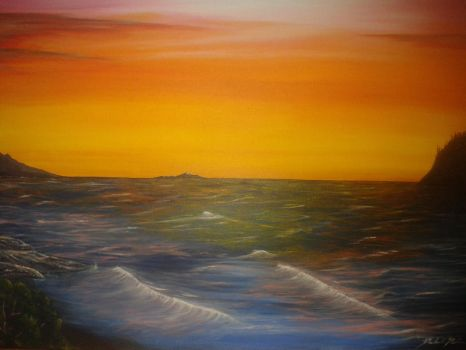 West Coast Ocean - Canvas/Acrylic Painting by EvoEmpyre