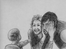 Daryl, Carol and Judith pencil sketch by Art-Gem