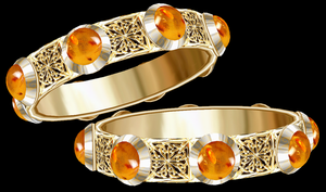 Aletheia Gold Bangles with Amber by LilipilySpirit