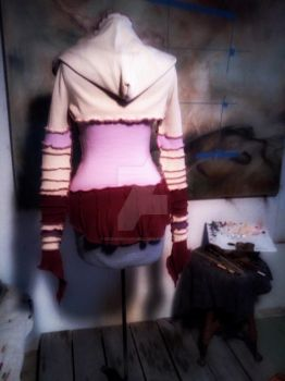 Anime corset sweater with hoodie shrug back view by designsbyandrea