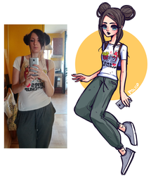 Coloured sketch - outfit of the day by poliip