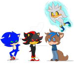 Chibi Sonic,Shadow,Silver and Vicotria by Feline-girl-2000