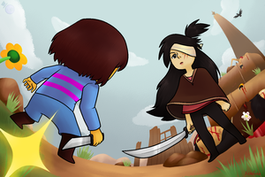 Buddy vs Frisk/Chara by HeartStringsXIII