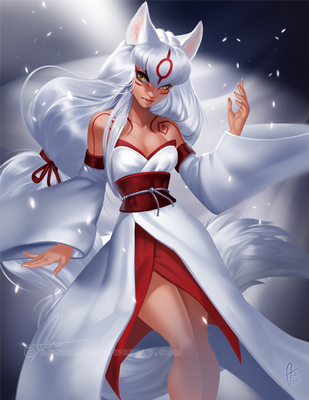 [patreon pinup] Amaterasu from Okami by AonikaArt