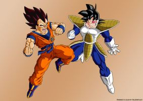 Goku vs Vegeta ex cloth by Blood-Splach