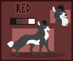 Red Reference Sheet ( Feral Wolf Form) by theredknight100