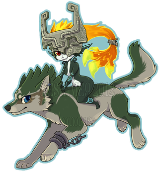 Wolf Link + Midna by KaceyMeg