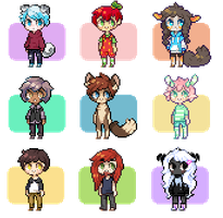 Pixel Icon Commishes 4 by Sergle