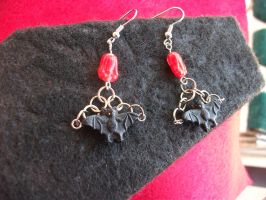 Coffin Gift Box 003 - Bat Earrings by MythrilAngel