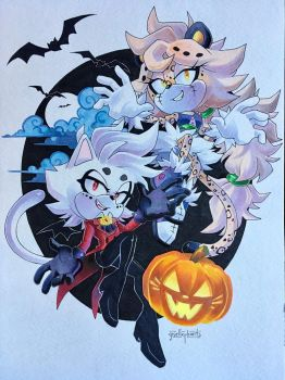 Spooky Cats by gisellephants
