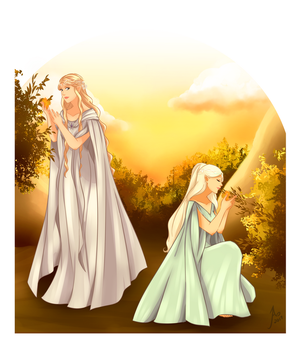 Galadriel and Celebrian by JayEyBee