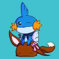 Eevee and Mudkip by Eriniin