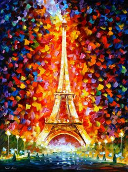 Eiffel Tower Lighted by Leonid Afremov by Leonidafremov