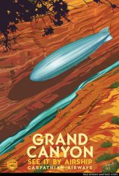 Airship Travel Art Grand Canyon by PaulRomanMartinez