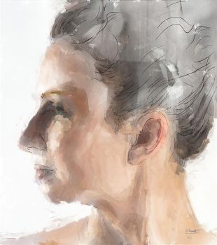 Female portrait - Digital watercolour by Les-Allsopp