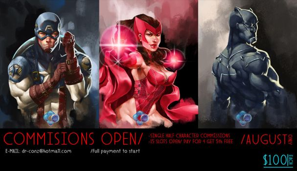 COMMISSIONS OPEN: AUGUST special by dr-conz