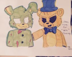 Fredbear and Springtrap ( Tony Crynight style) by SPIRITSWIFT