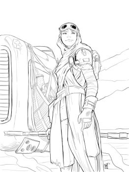 SWTFA: Rey sketch by beamer