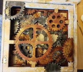 Steampunk shadow box front by AmeliaBaute