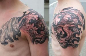 another freestyle tattoo...in progress... by graynd