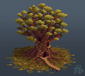 Isometric pixel art inhabited tree in the marshes by RGBfumes