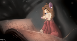 Mrs. Brisby and Nicodemus' tome by Sandkingart