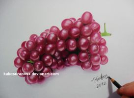 Realistic Grapes in Colored Pencil by kakosuranosx